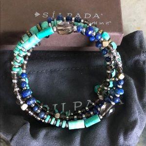 Silpada Spiky Palms stone wrap bracelet